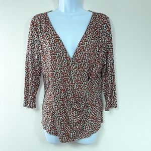 TALBOTS PRINT FAUX WRAP TOP